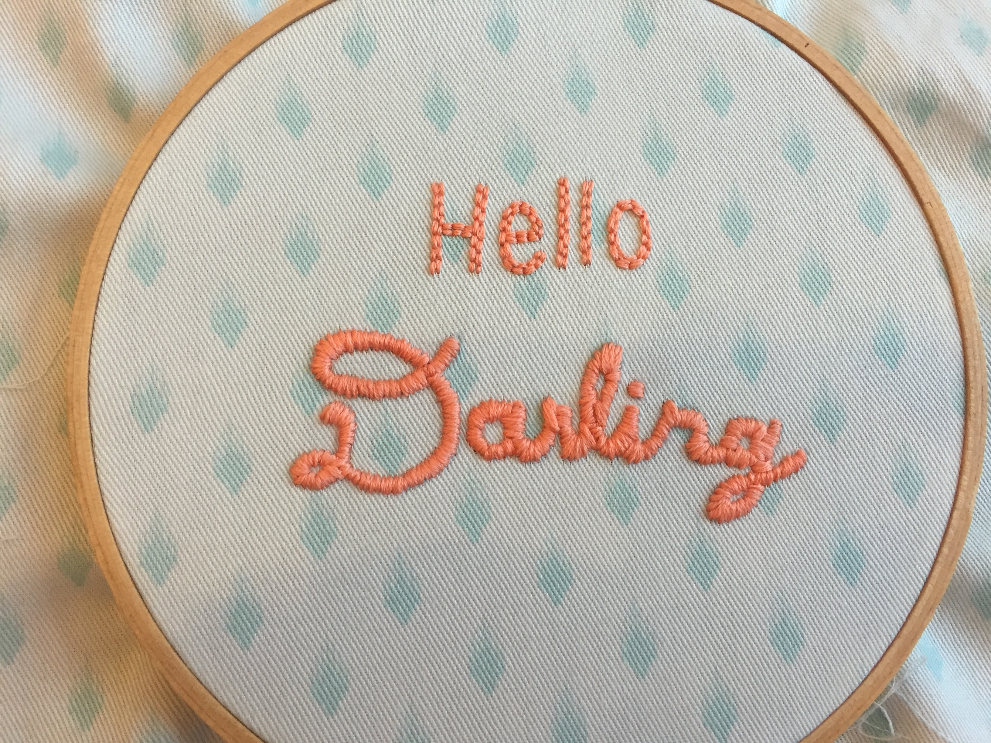 Diy hand embroidery motif hello darling quote pink